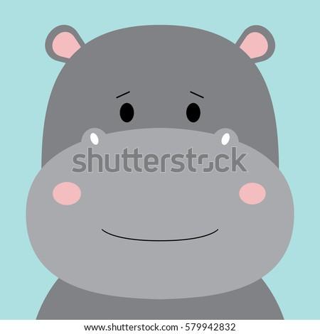 Cartoon animal, cute hippo on blue backgrounds. Flat design.Vector Illustration.