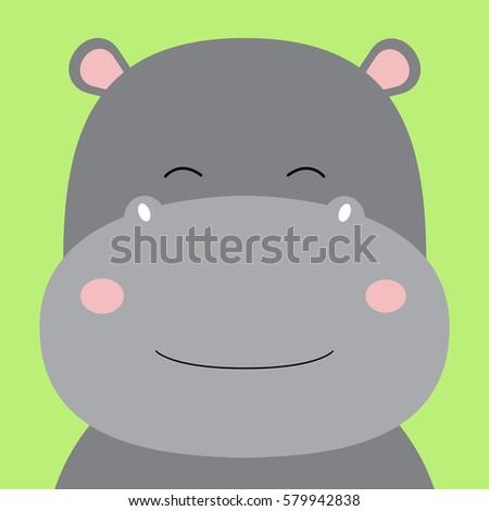 Cartoon animal, cute hippo on green backgrounds. Flat design.Vector Illustration.