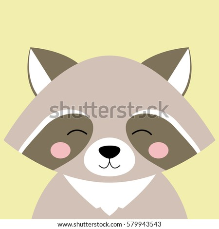 cartoon animal  cute raccoon on