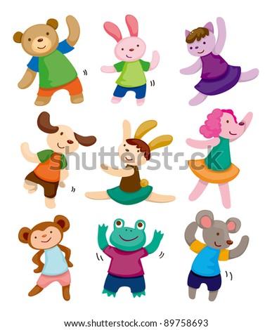 cartoon animal dancer icons
