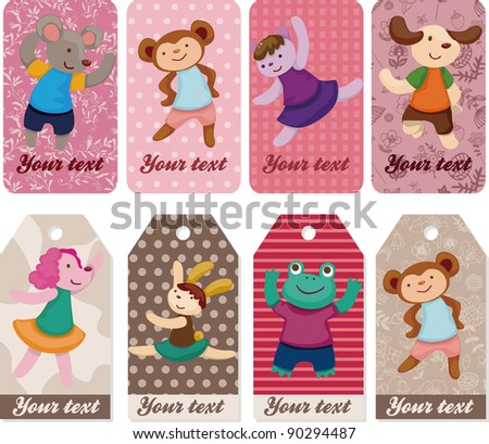 cartoon animal dancer seamless pattern - stock vector