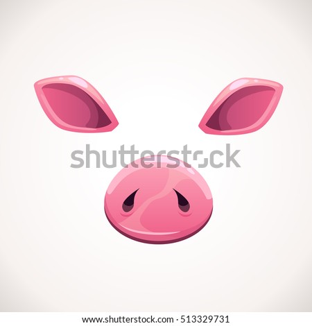cartoon animal face items pig