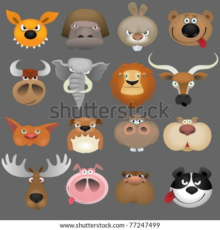 Cartoon animal heads icon set