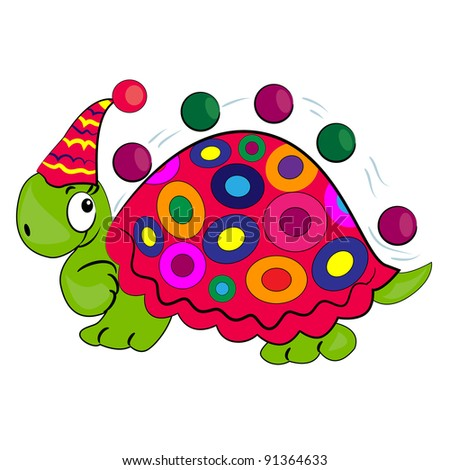 cartoon animal juggling balls vector illustration.cute turtle in zoo - stock vector