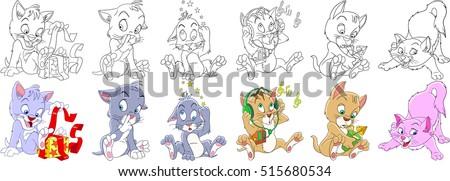 cartoon animal set childish
