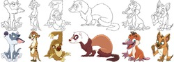 Cartoon animal set. Collection of wild predators. Howling wolf (coyote), suricate, sloth, ferret (polecat), platypus (duckbill), hyena (jackal). Coloring book pages for kids.