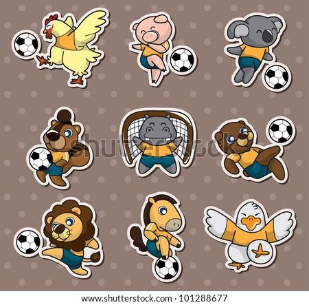 cartoon animal soccer player stickers