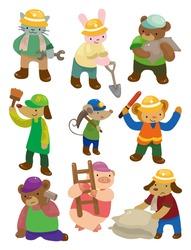 cartoon animal worker icons