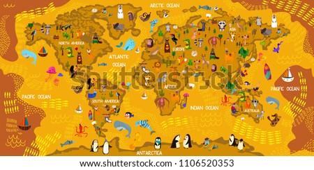 cartoon animal world map
