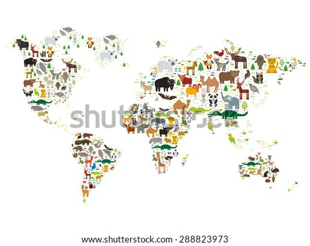 cartoon animal world map for