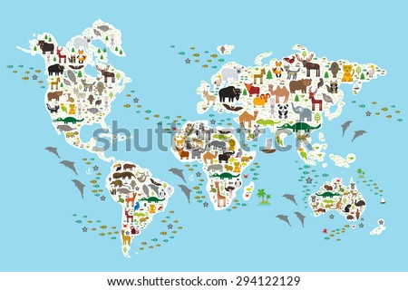 stock vector cartoon animal world map for children and kids animals from all over the world white continents 294122129 - Каталог — Фотообои «Для детской»