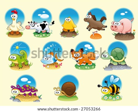 Cartoon animals and pets with background - stock vector