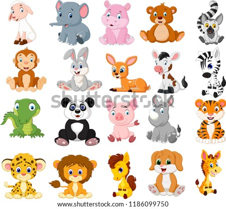 Cartoon animals collection set #1186099750
