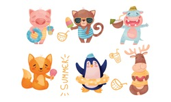 Cartoon Animals Drinking Cocktails and Swimming with Inner Tube Vector Set