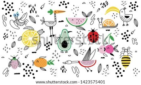 cartoon animals fruit