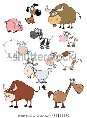 Cartoon Animals Raster Collection - stock vector
