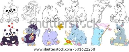 cartoon animals set collection