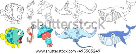 cartoon animals set underwater