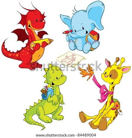 cartoon animals - small schooler
