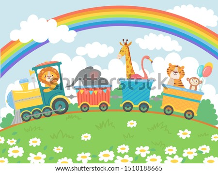 Cartoon animals travel. Zoo train, cute animal trains journey and funny pets traveling on locomotive. Train transportation, lion, giraffe and monkey character traveler vector background illustration