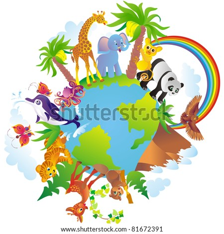 Cartoon animals walking around a globe - stock vector