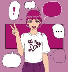 Cartoon  anime girl wearing t-shirt with