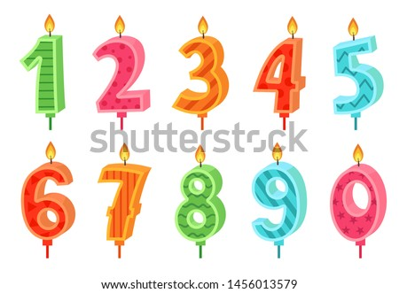 Cartoon anniversary numbers candle. Celebration cake candles burning lights, birthday number and party candle. Birth celebrate cakes decoration wax candles. Isolated vector icons set
