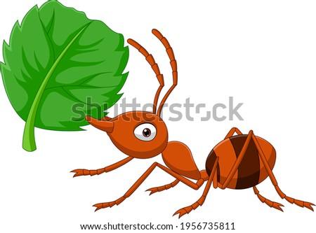 cartoon ant with green leaf