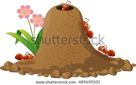 cartoon ants colony and ant