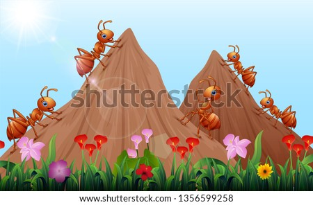 cartoon ants colony with ant