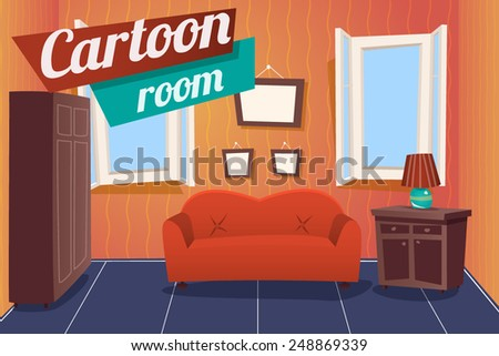 cartoon apartment living room