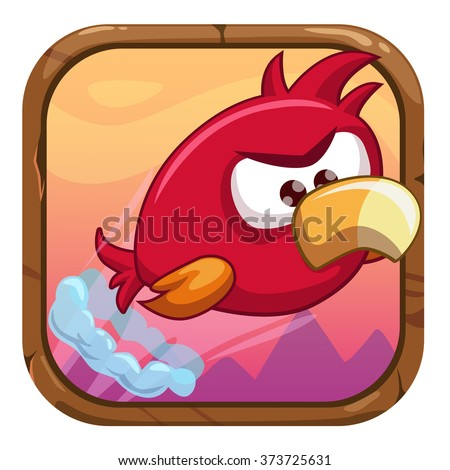 stock-vector-cartoon-app-icon-with-funny-flying-bird-vector-gui-asset