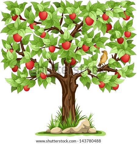 cartoon apple tree isolated on