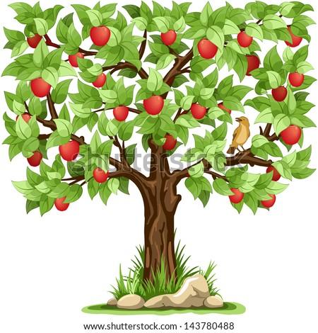 cartoon apple tree isolated on