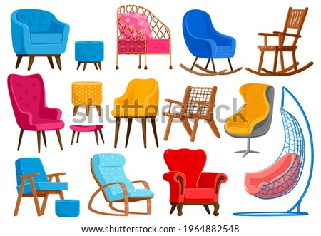 Cartoon armchairs. Modern comfortable furniture, apartment interior or office armchairs vector illustration set. Room decoration armchairs furniture. Comfortable cozy and armchair for office