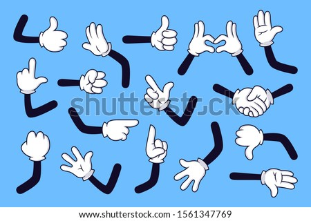 Cartoon arms. Gloved hands with different gestures, various comic hands in white gloves vector illustration set. Pointing with finger, heart gesture, handshake. High five, fist, idea sign