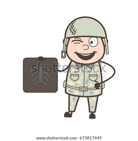 cartoon army man showing x ray