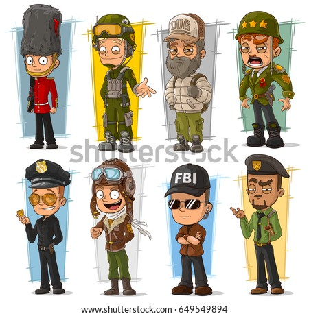 cartoon army soldier policeman