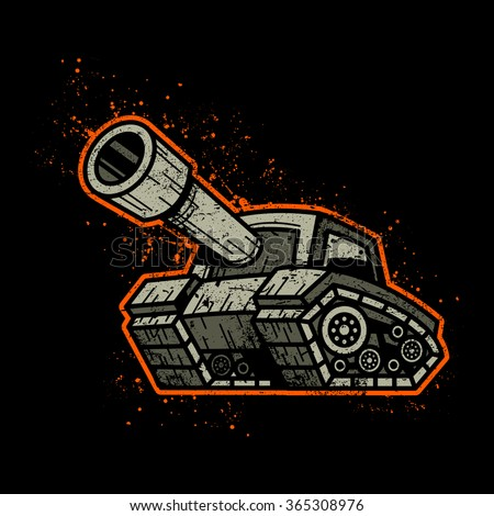 cartoon army tank machine with