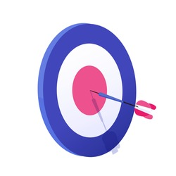 Cartoon arrow exactly on target vector graphic illustration. Hitting goal, successful business strategy result isolated on white background. Archery aim achievement at sport game and job