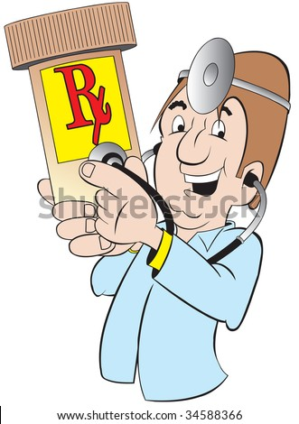 cartoon art of a doctor with stethoscope and is listening to a prescription bottle of pills. Yes, they are OK.
