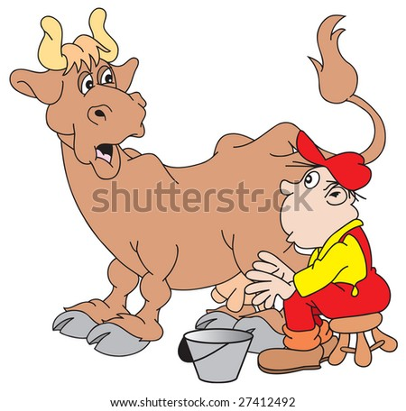 Cartoon+farmer+milking+a+cow
