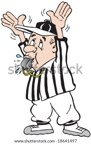 cartoon art of a football referee holding hands high and blowing whistle
