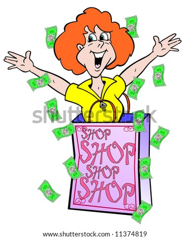 cartoon art of a lady shopper coming out of shopping bag and has dollar bills floating all around her and the bag. this is a gal who loves to shop! She's stimulating the economy.