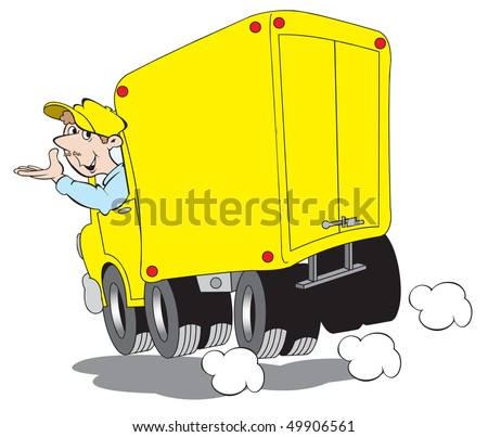 cartoon art of a man driving a delivery truck. He will make safe and affordable deliveries on time.