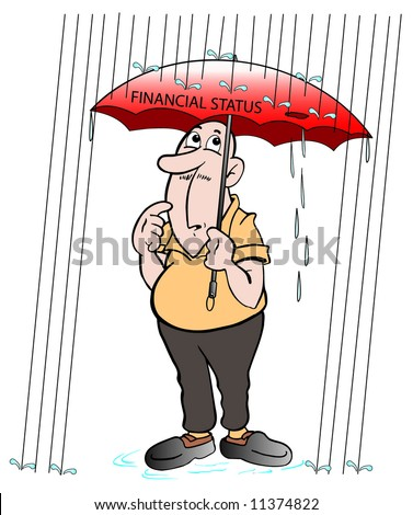 cartoon art of an elderly man under an umbrella during rain storm and noticed it has a hole in it and is leaking. has a puzzled look.
