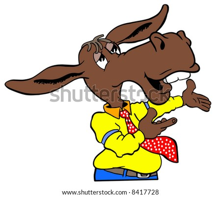 cartoon art of democrat donkey giving speech