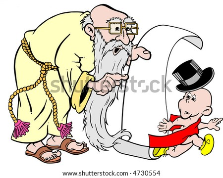 stock vector : cartoon art of father time and new years baby room on scroll