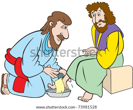 cartoon art of jesus as he washes the feet of one of his disciples