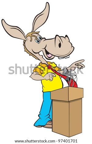 cartoon art of the democratic donkey standing at the podium with microphones addressing the democratic campaign at a news conference.